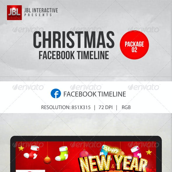 Christmas and New Year Facebook Timeline Package 2