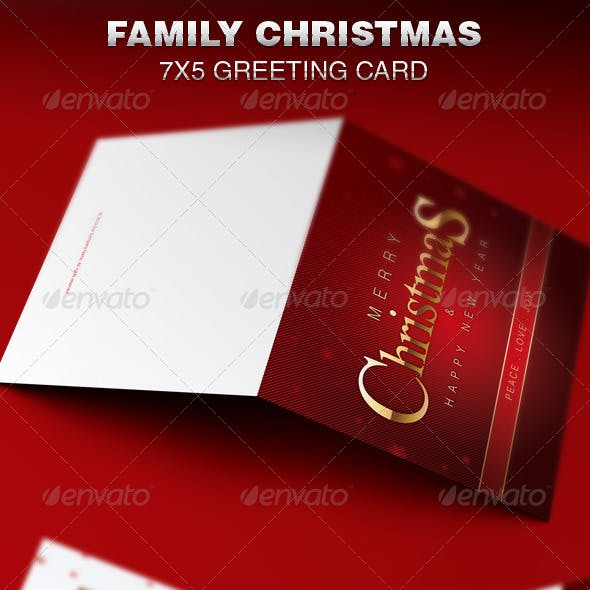 Family Christmas Greeting Card Template