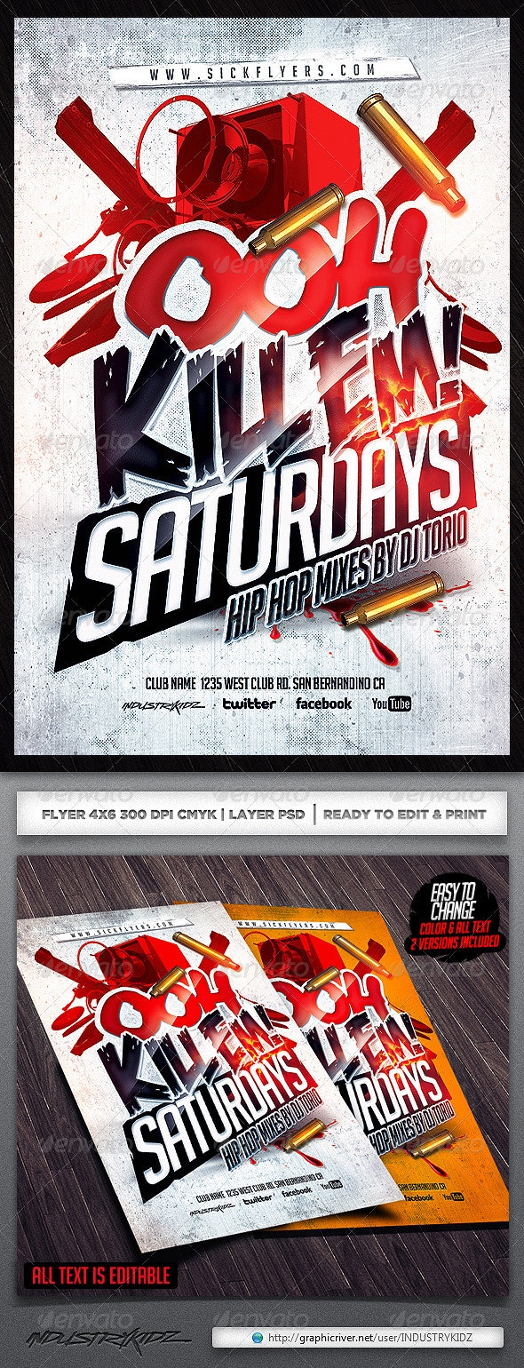 Ooh Kill Em Flyer Template - Clubs & Parties Events