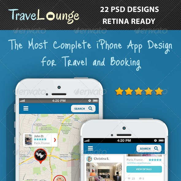 TraveLounge Flat iPhone App for Travel & Booking