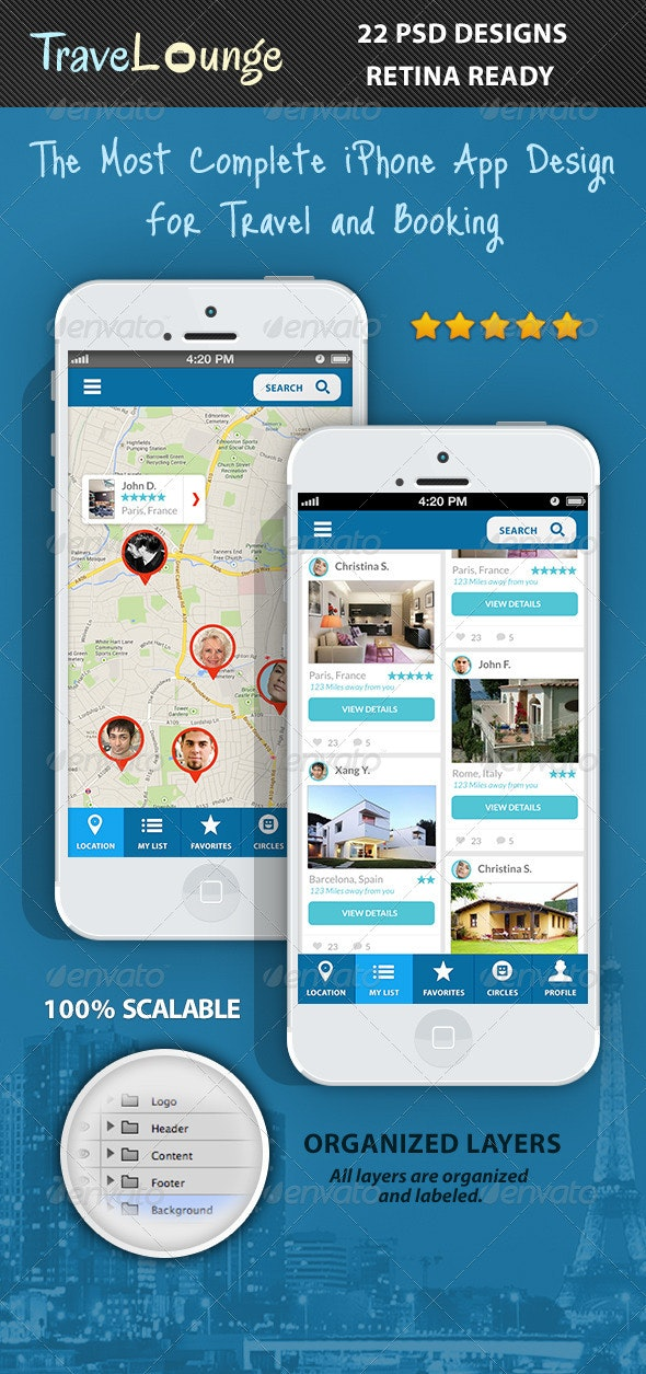 TraveLounge Flat iPhone App for Travel & Booking - User Interfaces Web Elements