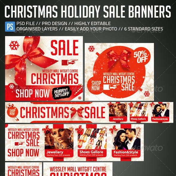 Christmas New Year Holiday Sale Web Banners