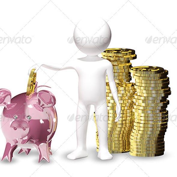Man with Piggy Bank