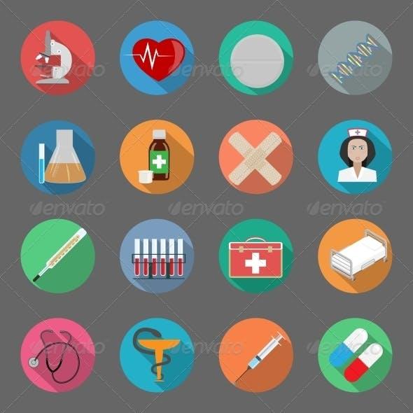 Medicine Flat Icons Set