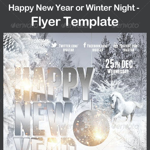 Happy New Year or Winter Night - Flyer Template