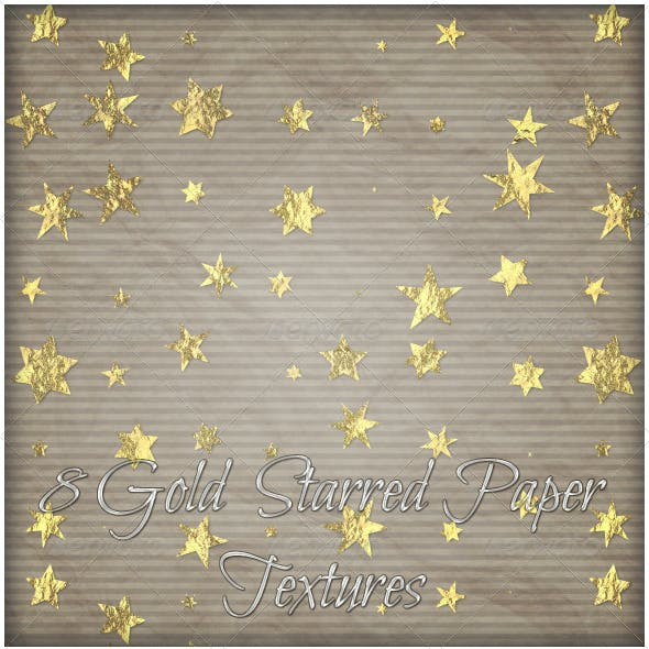 8 Gold starred Paper Textures