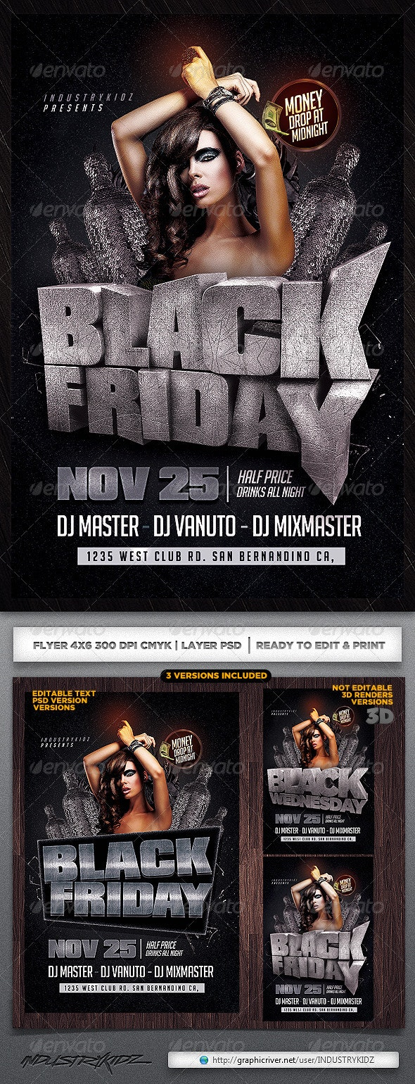 Black Friday PSD Flyer - Clubs & Parties Events