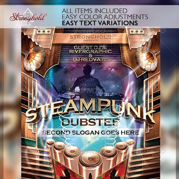 Steampunk Dubstep Event Flyer Template