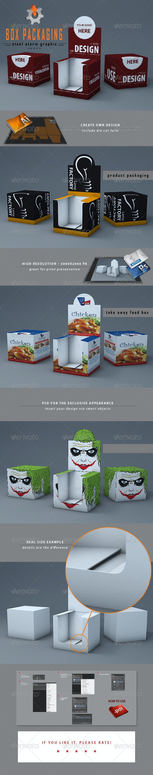 3D Box Packaging - Product Mock-Ups Graphics