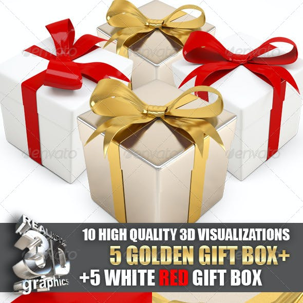Big set of 3D gift boxes gold and white