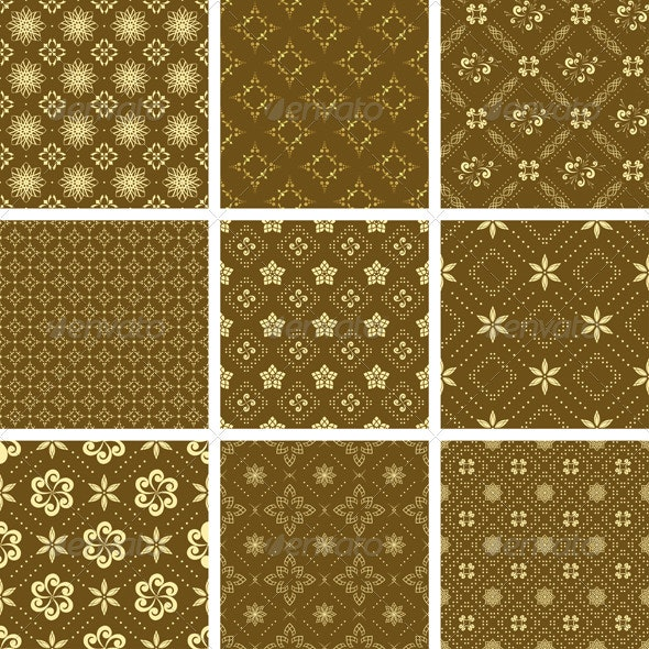 Set of vector seamless golden pattern - Patterns Decorative