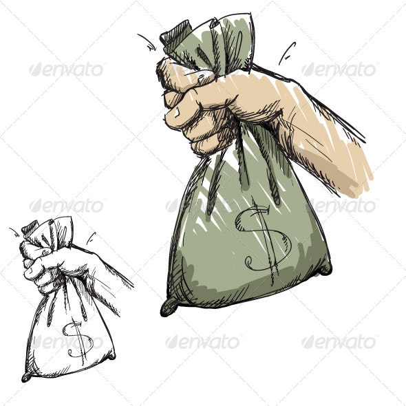 Hand Grabbing a Bag with Money - Business Conceptual
