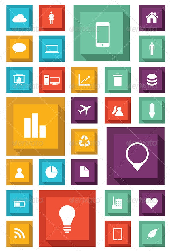 Flat Set of Icons - Media Icons