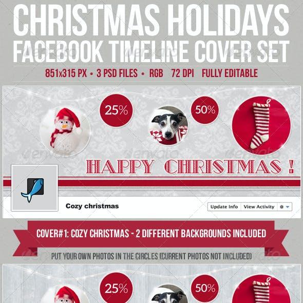 Christmas Holidays Facebook Timeline Cover Set