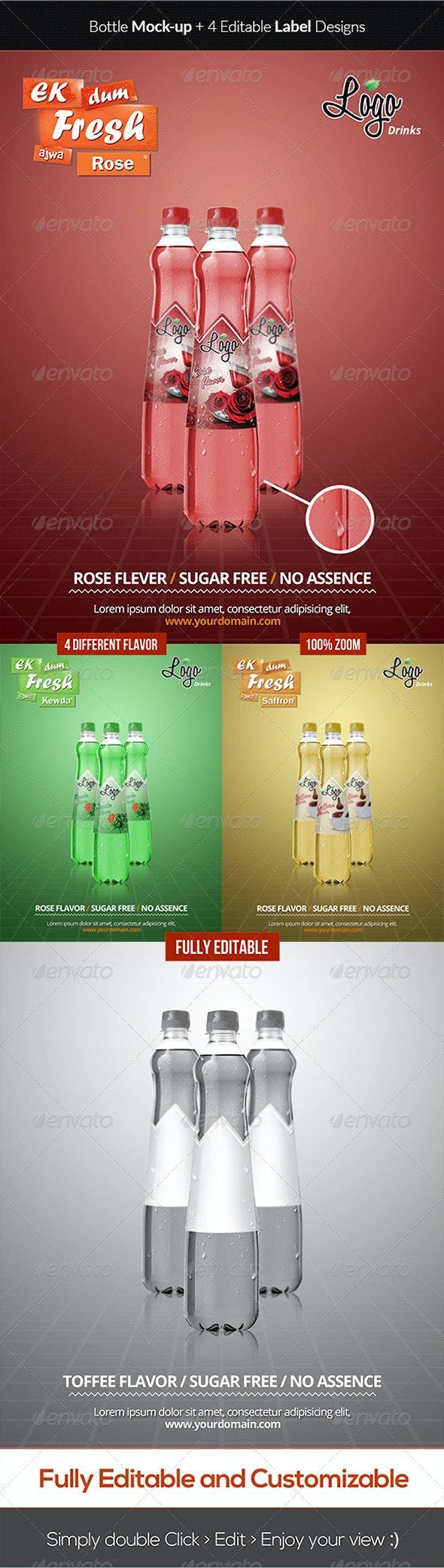 Elegant Bottle Mockup + Label Design - Food and Drink Packaging