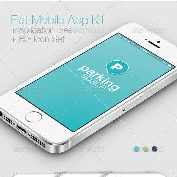 Flat Mobile App Kit / App Idea / Icon Set