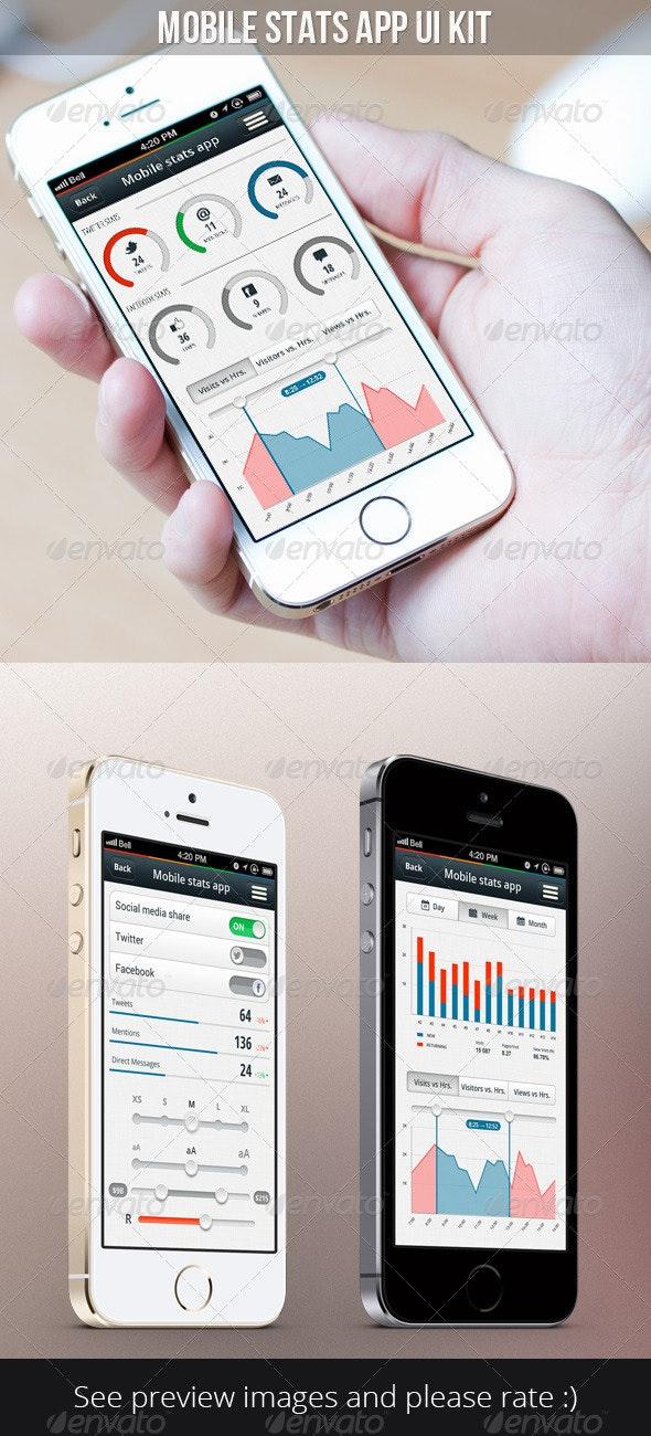 Mobile Statistics App Kit - User Interfaces Web Elements