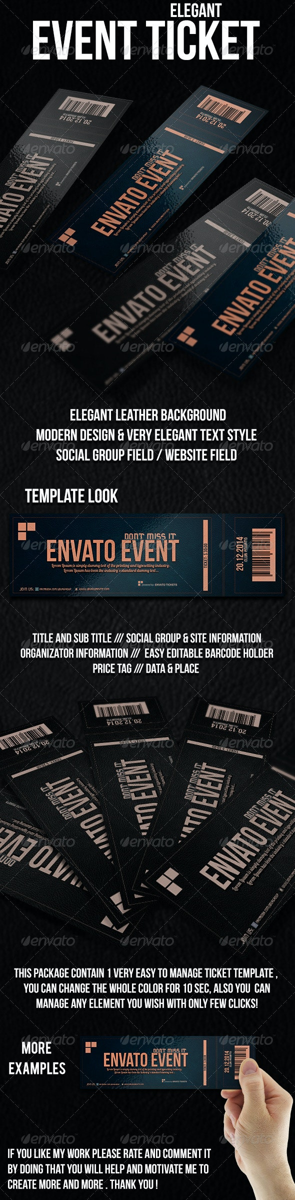 Elegant Ticket Template - Cards & Invites Print Templates