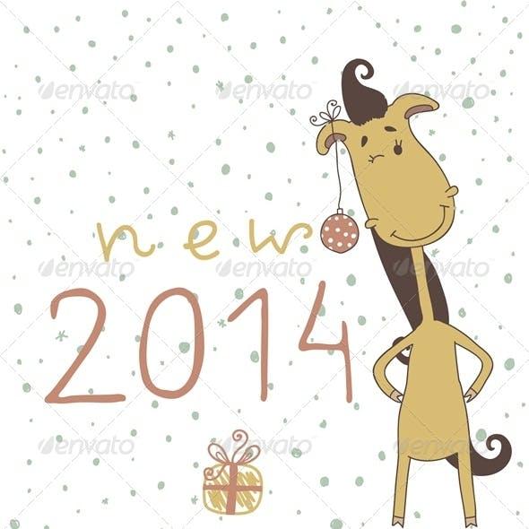 Christmas Card with Cartoon Horse