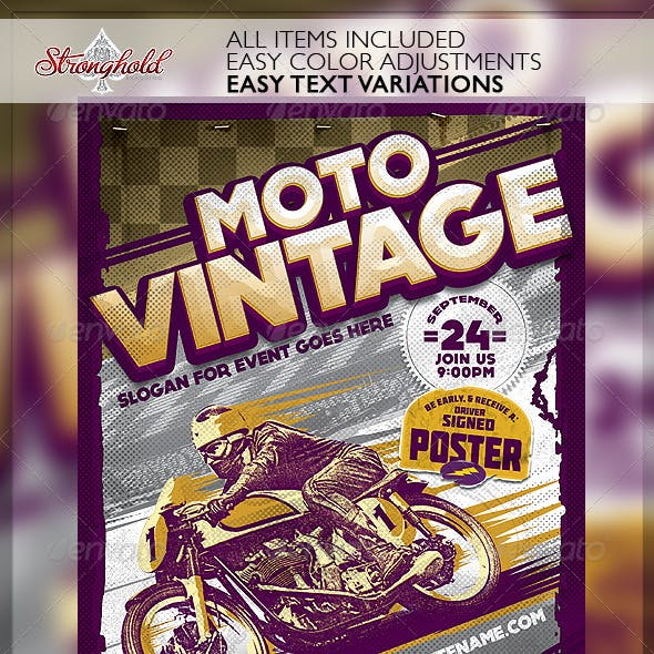 Vintage Motorcycle Race Poster Template