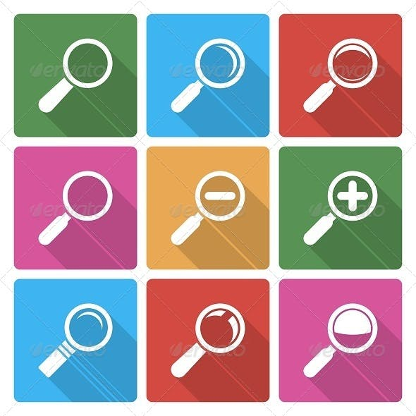 Magnifier Glass Icons with Shadow