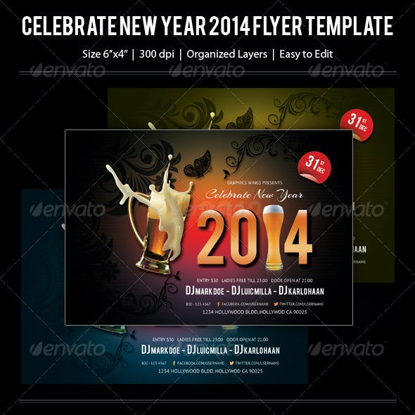 Celebrate New Year 2014 Flyer Template