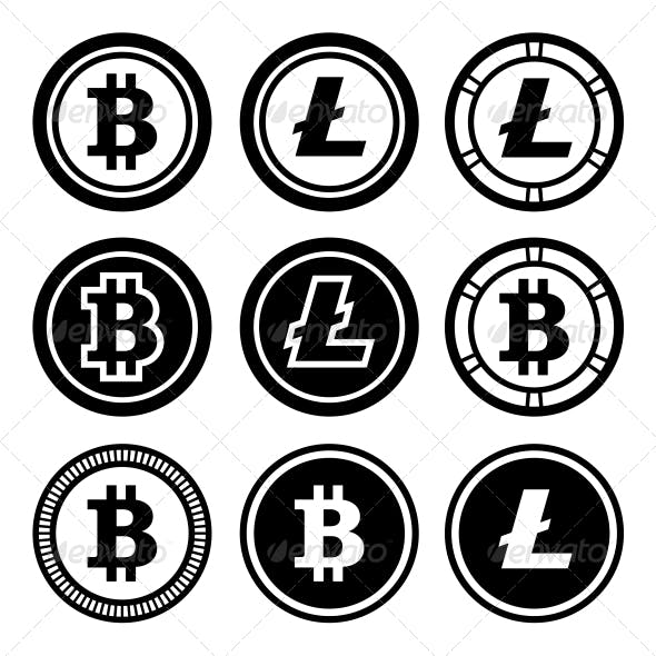 Bitcoin and Litecoin Icons Set