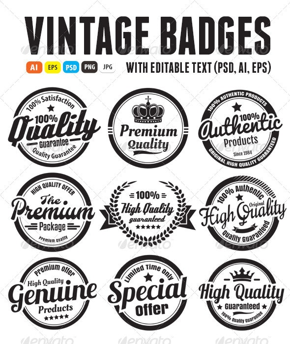 Premium High Quality Guarantee Badges - Badges & Stickers Web Elements