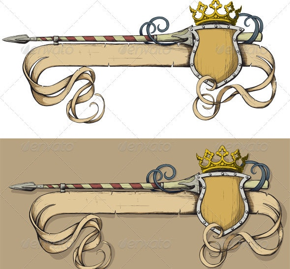 Banner Spear and Crown - Backgrounds Decorative