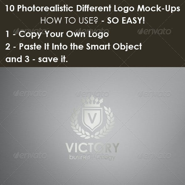 10 Photorealistic Different Logo Mock-Ups