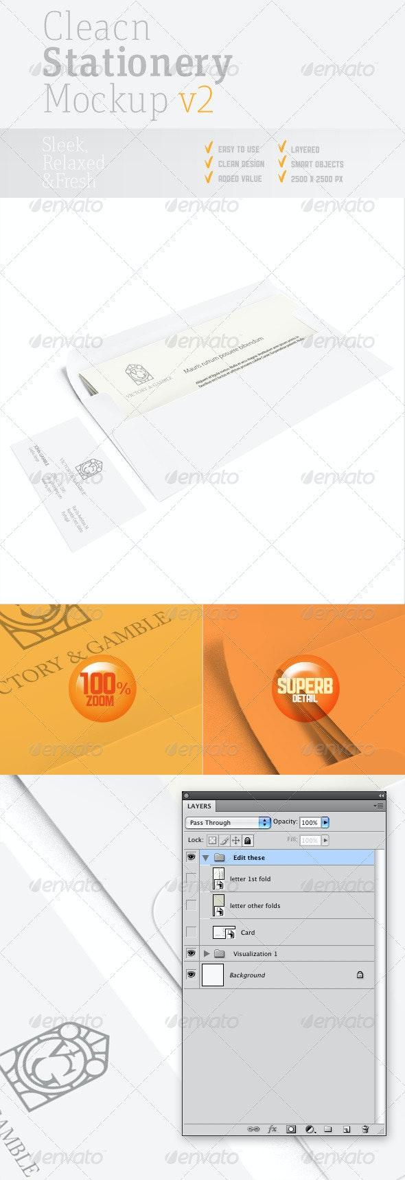 Clean Stationery PSD Mock-up v2 - Stationery Print