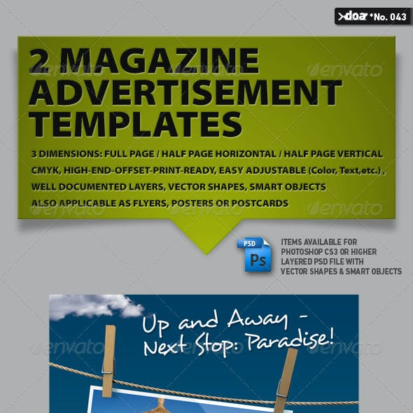 2x3 Magazine AD Templates Vol. 02