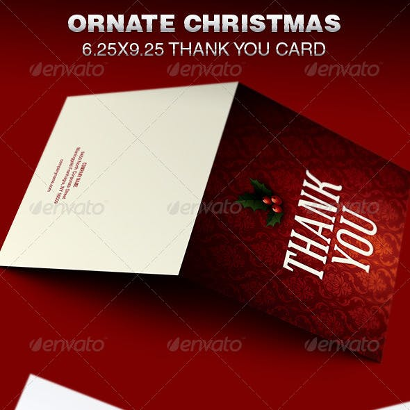 Ornate Christmas Thank You Card Template