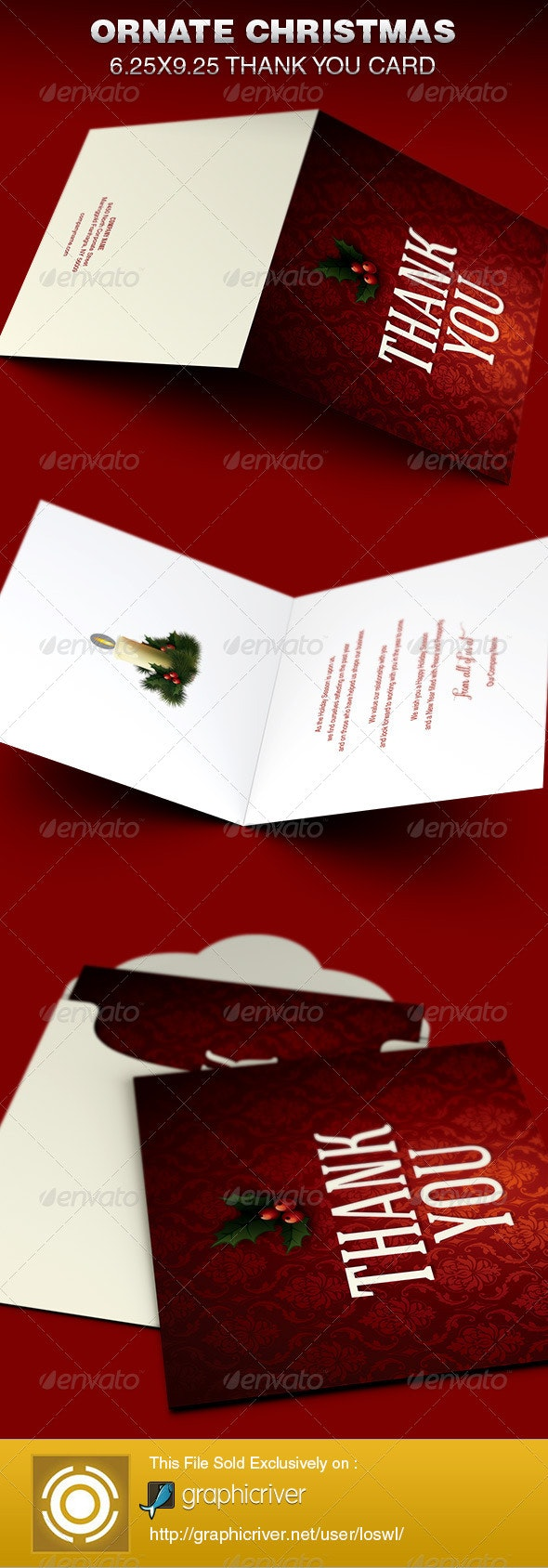 Ornate Christmas Thank You Card Template - Greeting Cards Cards & Invites