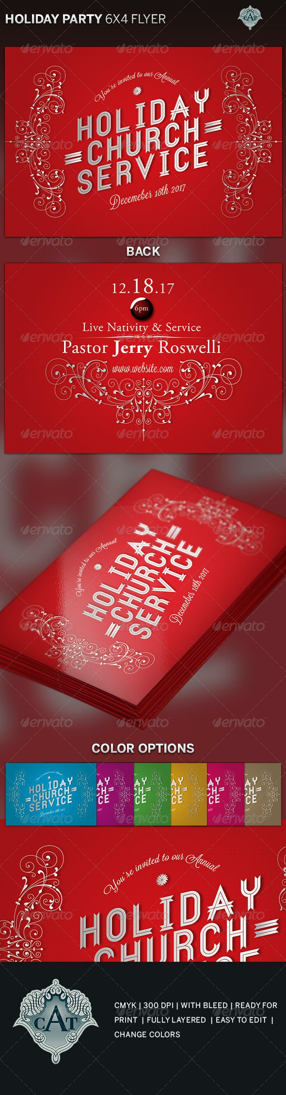 Holiday Church Service Flyer Template - Holidays Events