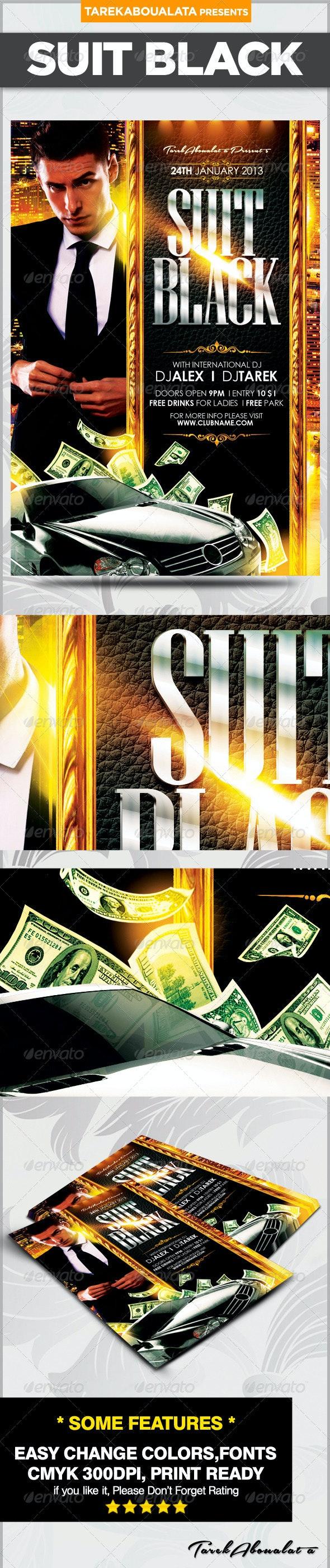 Suit Black Flyer - Clubs & Parties Events