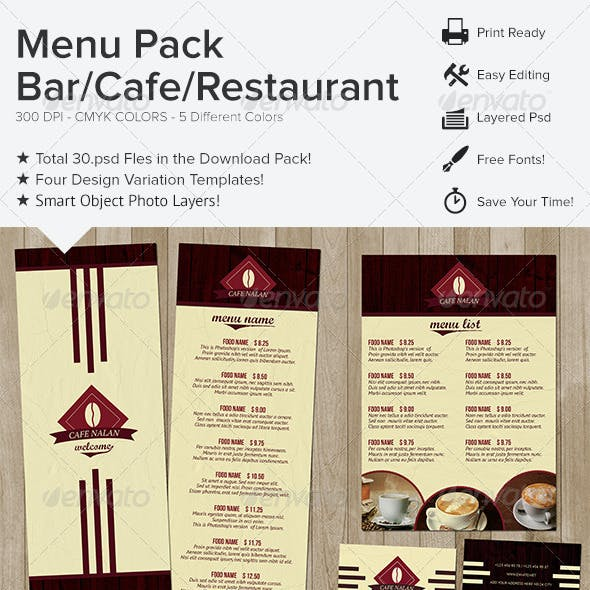 Menu Pack - Bar Cafe Restaurant