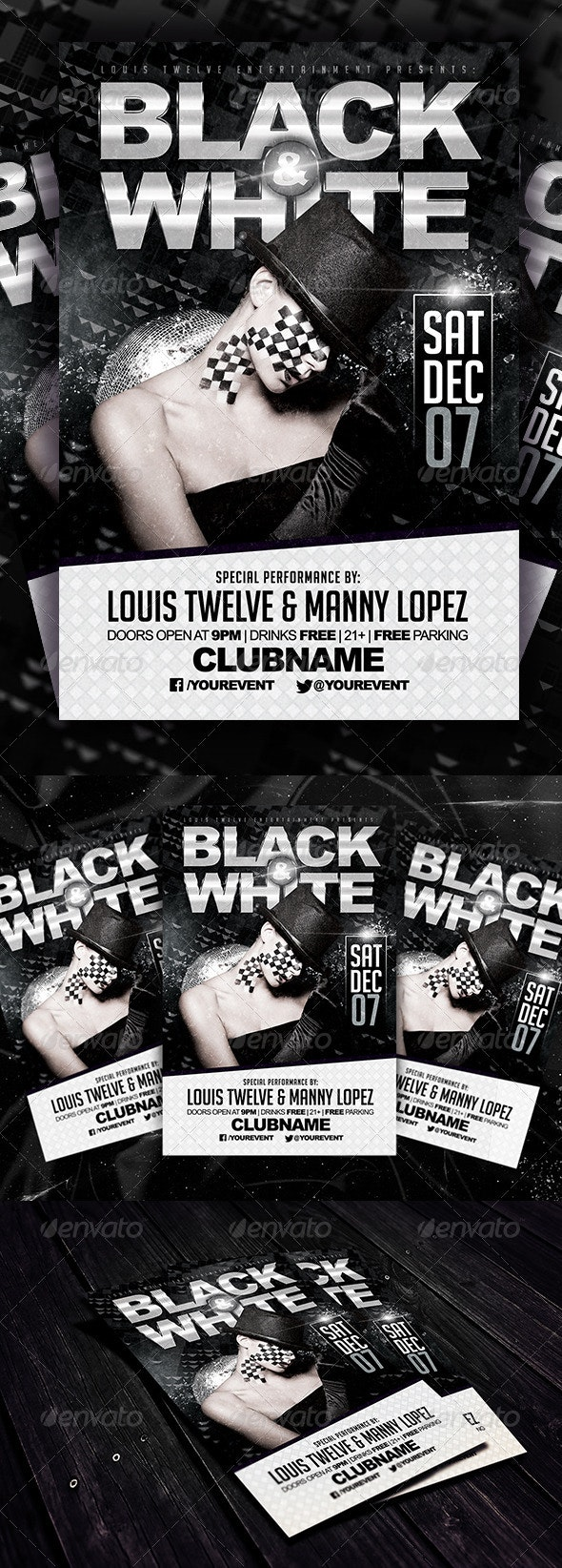 Black and White Party Flyer Template - Clubs & Parties Events