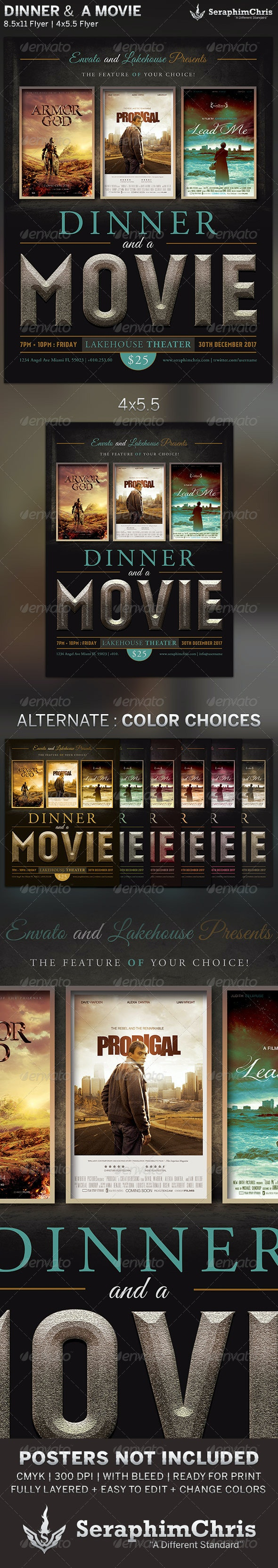 Dinner and a Movie Flyer Template - Events Flyers