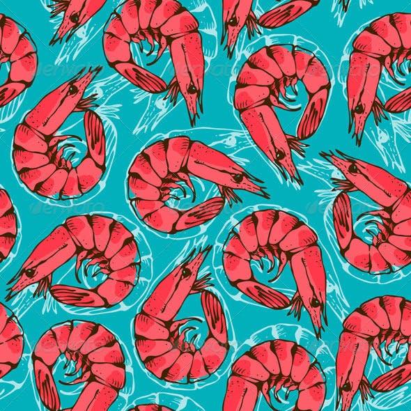 Shrimp Seamless Background