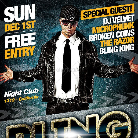 Underground Bling - PSD Hip Hop Music Flyer