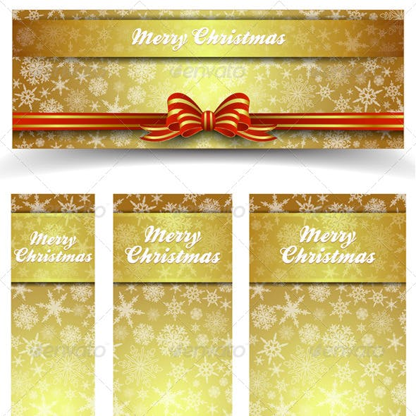 Christmas Snowflakes Gold Web Banners - All Sizes