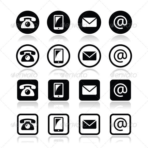 Contact Icons in Circle and Square Set - Mobile,