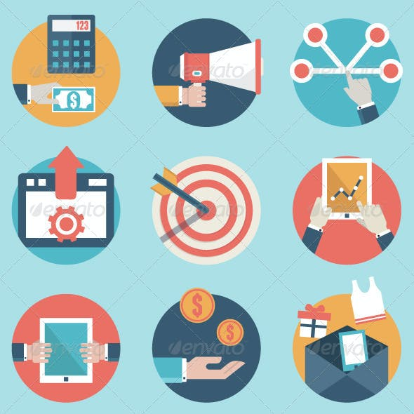 Set of Business Analytics and E-Commerce Icons