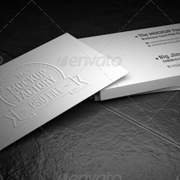 Photorealistic Embossed Business Card MockUp