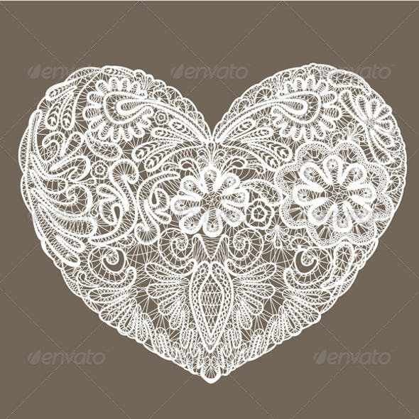Heart Shape is Made of Lace Doily Element