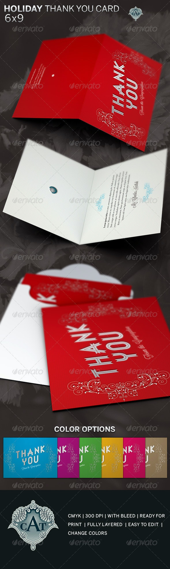 Holiday Thank You Card Template - Holiday Greeting Cards