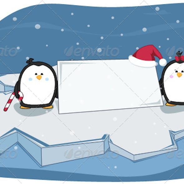Penguin Sign Christmas Illustration
