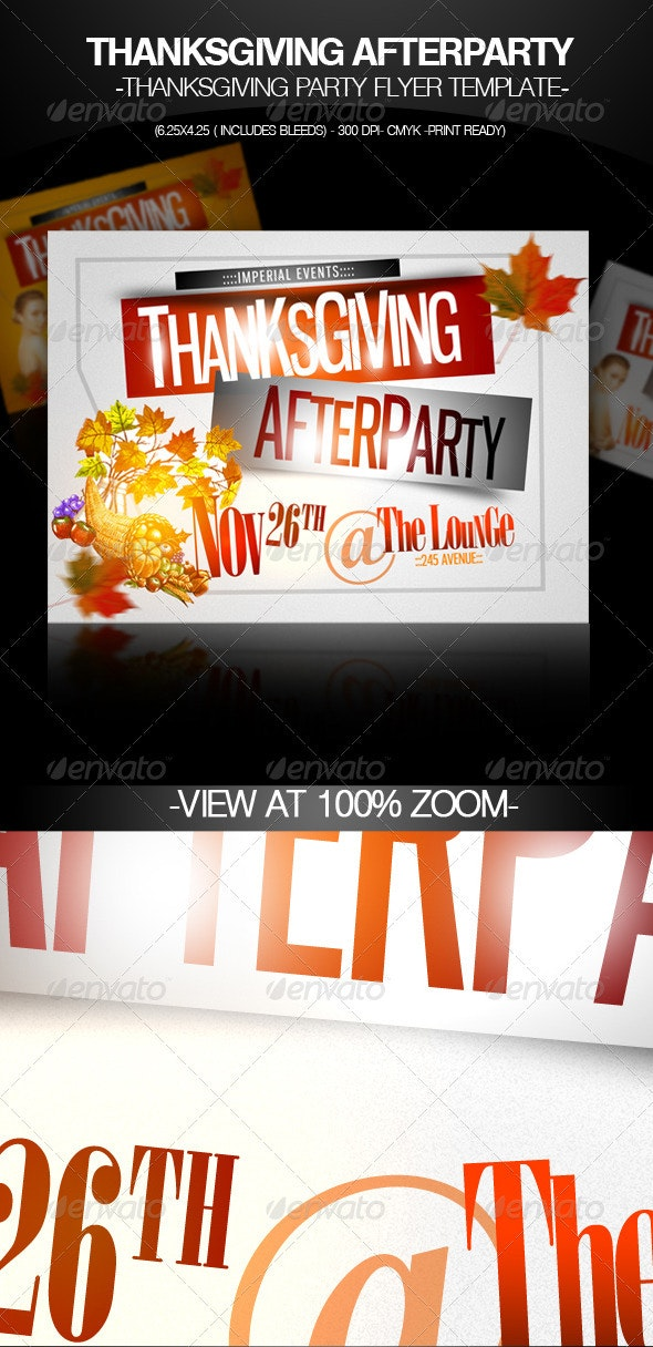 Thanksgiving Afterparty Party Flyer Template - Clubs & Parties Events