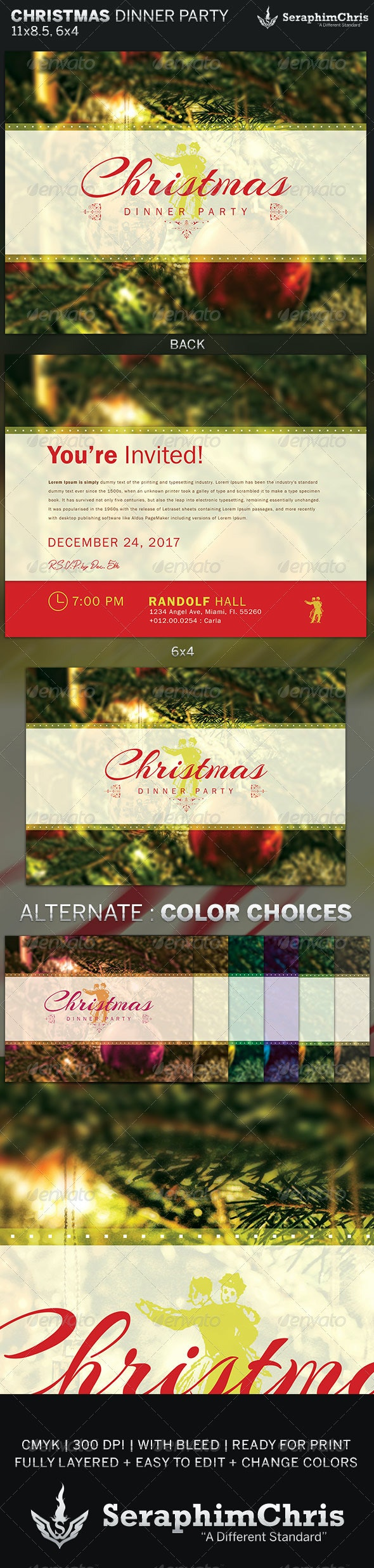 Christmas Dinner Party Flyer Invite Template - Invitations Cards & Invites